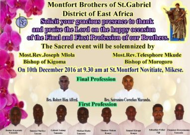 The First Profession and the final profession at St. Montfort Novitiate, Mikese